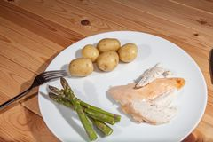 Bland healthly food meal. Boring chicken slimmers dinner with as Royalty Free Stock Photography