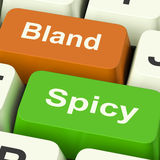 Bland Spicy Keys Shows Plain Hot Cooking Flavours. Bland Spicy Keys Showing Plain Hot Cooking Flavours Stock Images