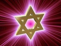 Bland strålar av den guld- davidsstjärnan royaltyfri illustrationer