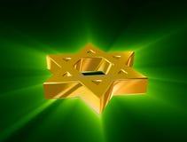 Bland strålar av den guld- davidsstjärnan stock illustrationer