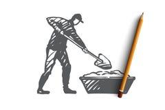 Blanda cement, reparation, arbetare, utrustningbegrepp Hand dragen isolerad vektor royaltyfri illustrationer