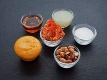 Blanda ingredienser av thailändsk grön papayasallad, torkad räka, jordnöt, gömma i handflatan socker, limefruktfruktsaft som kryd Royaltyfri Fotografi
