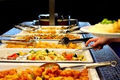 Blandad asiatisk mat på plattor royaltyfria foton