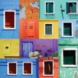 Blandad färgrik Windows vägg och dörrar royaltyfria foton