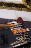Blandad frisörutrustning Arkivbild