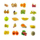 Blandad frukt med vit bakgrund royaltyfri bild