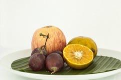 Blandad frukt på skiva Arkivbilder