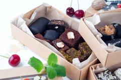 Blandad gourmet- choklad i en boxas Royaltyfria Bilder