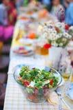 Blandad grön sallad med moroten och tomater på picknicktabellen Arkivbilder