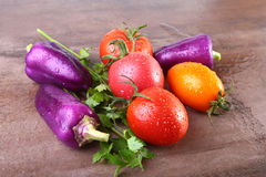 Blandad grönsak med purpurfärgade exotiska färgspanska peppar och tomater på stenbakgrund Royaltyfri Bild