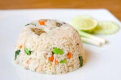 Stekt rice på vit pläterar arkivbild