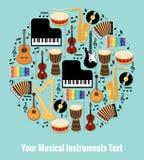 Blandad musikinstrumentdesign med textområde vektor illustrationer