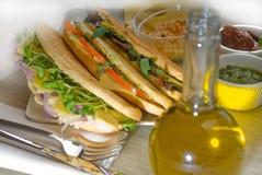 blandad paninismörgås royaltyfri fotografi