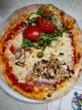 Blandad pizza med grönsaker, havsvarelser, champinjoner, oliv Arkivbild