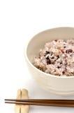 Blandad rice i japansk ricebunke Royaltyfria Bilder