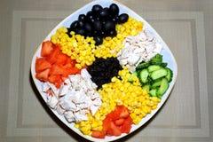 Blandad sallad på en platta Ingredienser: höna på burk havre, ol Fotografering för Bildbyråer