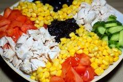 Blandad sallad på en platta Ingredienser: höna på burk havre, ol Arkivfoto