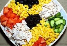 Blandad sallad på en platta Ingredienser: höna på burk havre, ol Arkivbild