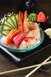 Blandad sashimi, stor sashimiplatta Royaltyfri Foto