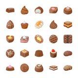 Blandad uppsättning för chokladvektorsymboler stock illustrationer