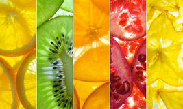 Blandad vertikal collage av 5 baksida tända fruktskivor royaltyfri foto