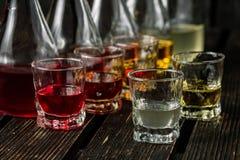 Blandade alkoholiserade fruktjuice i exponeringsglas och karaffer Royaltyfria Bilder