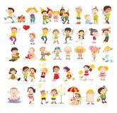 Blandade barn vektor illustrationer