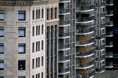 blandade byggnader för lägenhet Arkivfoto