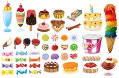 Blandade efterrätter och sötsaker Fotografering för Bildbyråer