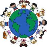 Blandade etniska lyckliga barn Arkivfoton
