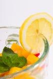 Blandade exotiska frukter i blandare Royaltyfri Fotografi