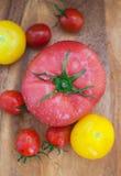 Blandade färgrika våta tomater på träbräde Arkivbild
