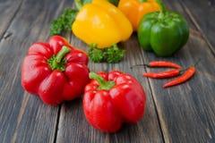 Blandade färgrika variationer av söta peppar Arkivfoton