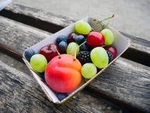 Blandade frukter i pappers- platta royaltyfri fotografi