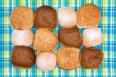 Blandade hamburgarerullar på en kontrollerad picknicktorkduk Royaltyfri Bild