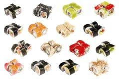 blandade isolerade sushi Royaltyfri Foto