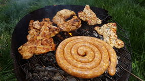 Blandade köttläckerheter grillar utomhus fotografering för bildbyråer