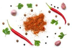 Blandade kryddor som isoleras på vit bakgrund Selleri för basilika för vitlökfänkålmorötter, persilja, mejram, lök, chilipeppar T arkivfoton