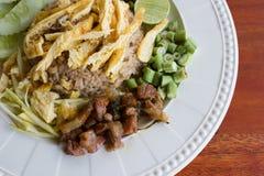 Blandade lagade mat ris med räkadeg Royaltyfria Bilder