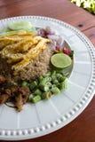 Blandade lagade mat ris med räkadeg Royaltyfri Fotografi