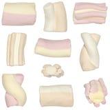 Blandade marshmallows stock illustrationer