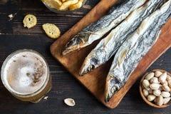 Blandade mellanmål för öl, torkad fisk Arkivbilder