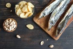 Blandade mellanmål för öl, torkad fisk Fotografering för Bildbyråer