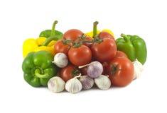 Blandade mogna grönsaker stänger sig upp Arkivfoto