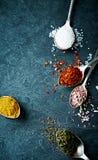 Blandade naturliga kryddor royaltyfria bilder