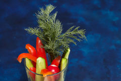 Blandade nya grönsaker i exponeringsglas - spansk peppar, gurka och dill Royaltyfri Foto