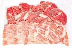 Blandade nya kurerade kött på den vita maträttisolaten royaltyfri bild