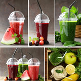 Blandade nya smoothies för collageuppsättning från frukter Royaltyfria Bilder