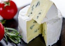 Blandade ostar på träbräde Camembert ost med blå mjöldagg, mozzarella med tomater arkivbilder