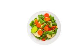 blandade plattagrönsaker Top beskådar isolerat royaltyfria foton